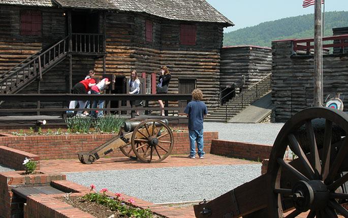 Kids near a cannon