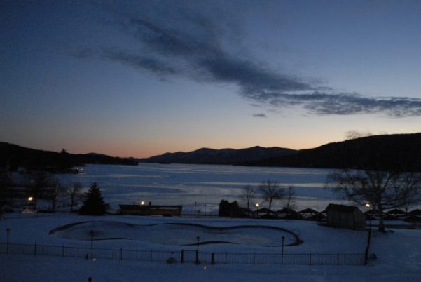 winter sunset on lake george
